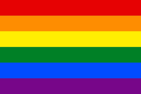 Close up front view of multicolored Lgbti flag as background.
