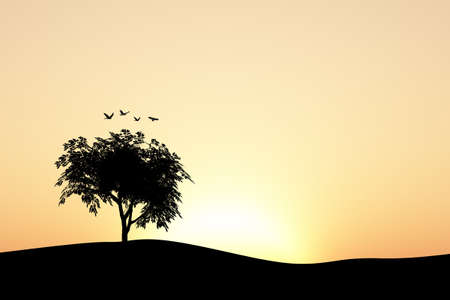 flapping: Front silhouette view of a tree on a hill by the sea or lake, on sunset or sunrise background. Stock Photo