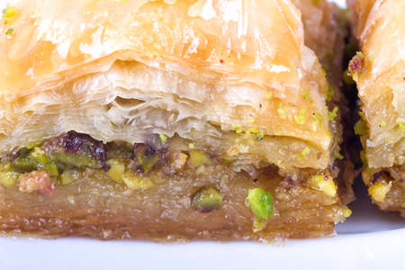 detailed view: Close up detailed view of baklava with pistachio, delicious turkish dessert. Stock Photo