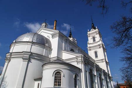 azul marino: Vista lateral de la catedral católica romana en Ludza, Letonia, en azul marino fondo del cielo nublado. Foto de archivo