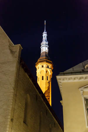 azul marino: Front view of medieval Lutheran Church of the Holy Ghost in Tallinn, Estonia, in dark on navy blue sky background. Foto de archivo
