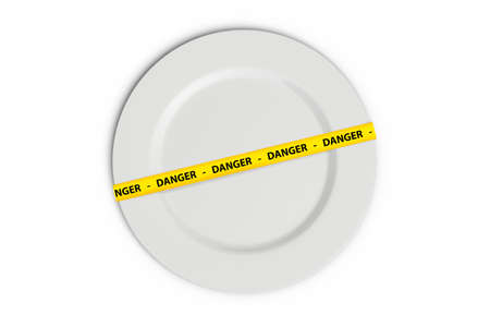 caution tape: Yellow caution tape strips with text of danger on a white flat plate, isolated on white background.