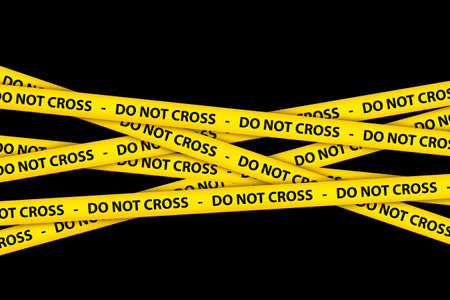 danger do not cross: Yellow caution tape strips with text of do not cross, on black background.