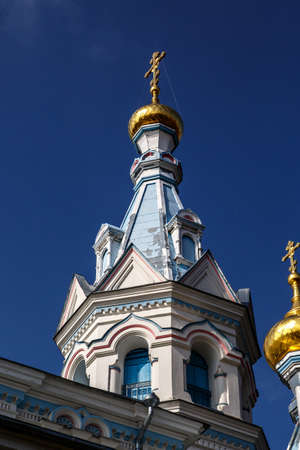 navy blue: Close up view of Orthodox Ss Boris and Gleb Cathedral in Dougavpils, Latvia, on navy blue sky background.