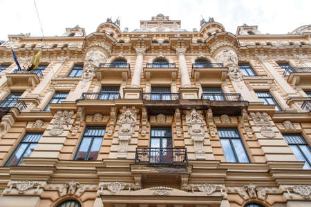 Close up bottom view of jugendstil style building of art nouveau in Alberta Street in Riga, Latvia.