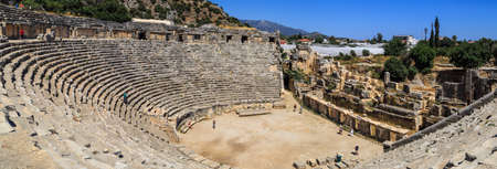 stated: ANTALYA, TURKEY - JULY 19, 2015 : View of famous Lycian ancient city in Demre, Antalya, Myra Ancient City which was stated in 5th century bc. Editorial