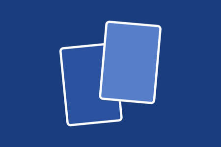 navy blue background: Close up front view of blank blue illustrative cards with copy space, on navy blue background.