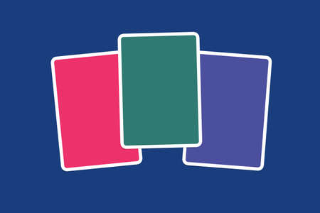 navy blue background: Close up front view of blank pink, green and purple illustrative cards with copy space, on navy blue background.