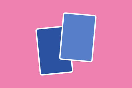 illustrative: Close up front view of blank blue illustrative cards with copy space, on pink background.