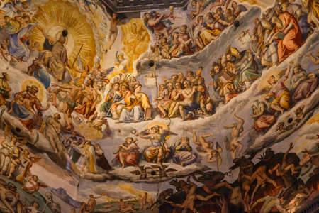 famous paintings: Close up detailed interior dome view of famous Duomo in Florence, with fresco paintings.