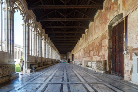 camposanto: PISA, ITALY - SEPTEMBER 21, 2015 : View of Camposanto Monumentale, known as monumentale cemetery, built in 12th century, in Pisa Cathedrale Square. Editorial