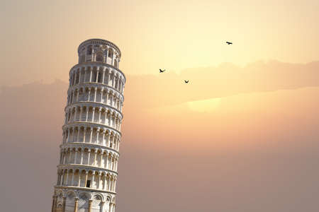 pisa tower: View of historical Pisa Tower in Cathedral Square of Pisa, Italy, on sunrise or sunset sky background. Stock Photo