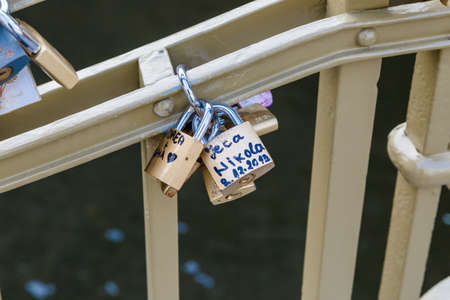 door lock love: PRAGUE, CZECH REPUBLIC - DECEMBER 31, 2015 : Close up detailed view of love padlocks on a bridge in Pague. Editorial
