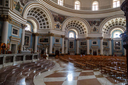 spiritual architecture: MOSTA, MALTA - NOVEMBER 1, 2015 : Interior view of Rotunda of Malta known as also Mosta Dome, historical and the third biggest church in Europe.