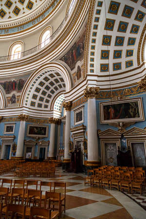 rotunda: MOSTA, MALTA - NOVEMBER 1, 2015 : Interior view of Rotunda of Malta known as also Mosta Dome, historical and the third biggest church in Europe.