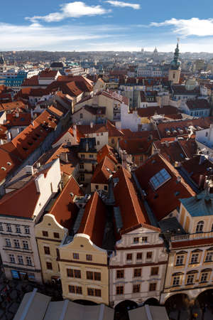 old town square: PRAGUE, CZECH REPUBLIC - JANUARY 1, 2016 : Top cityscape view of Prague Old Town Square from Astronomical Clock Tower.