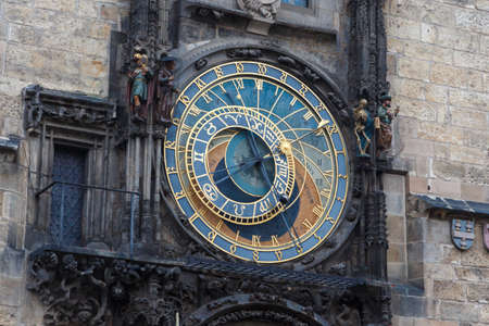 astronomical: Close up detailed view of historical Astronomical Clock at old town square in Prague.
