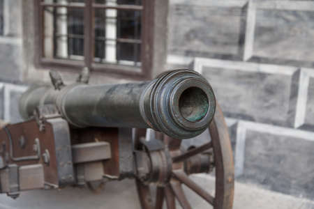 detailed view: Close up detailed view of old black iron cannon ball. Stock Photo
