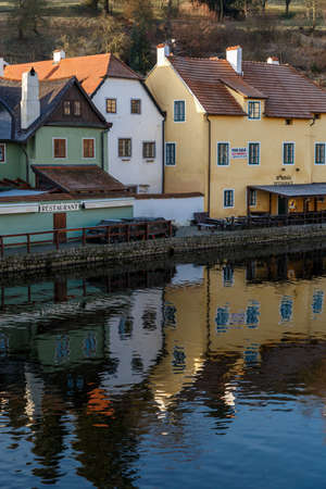 krumlov: CESKY KRUMLOV, CZECH REPUBLIC - DECEMBER 29, 2015 : General view of Cesky Krumlov city with historical small houses along the river.