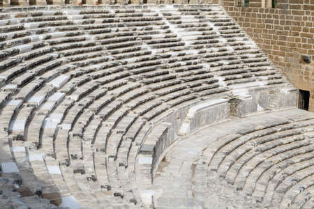 granit: View of amphitheater with historical old granit stairs in Aspendos Ancient City.