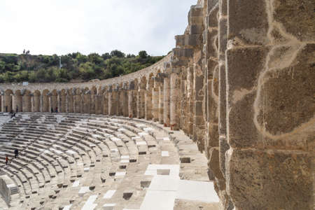 granit: ANTALYA, TURKEY - MARCH 7, 2016 : View of amphitheater with historical old granit stairs in Aspendos Ancient City.