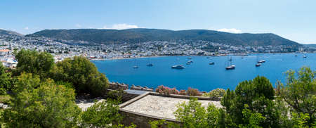 mugla: MUGLA, TURKEY - MAY 28, 2016 : Brillant landscape view from historical old Bodrum Castle with stone walls on blue sky background. Editorial