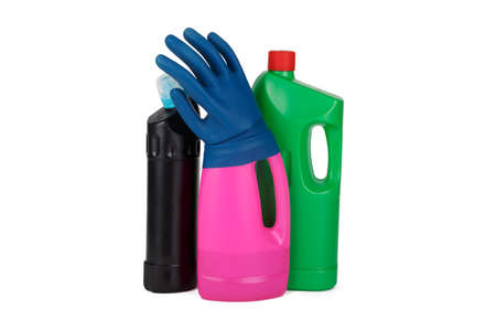 disinfect: Plastic colorful detergent bottle, blue rubber glove, isolated on white background. Stock Photo