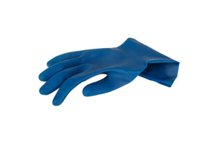 Blue rubber glove, isolated on white background. Stock Photo