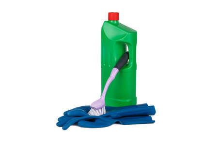dish washing gloves: Plastic colorful detergent bottle, blue rubber glove and cleaning brush, isolated on white background. Stock Photo