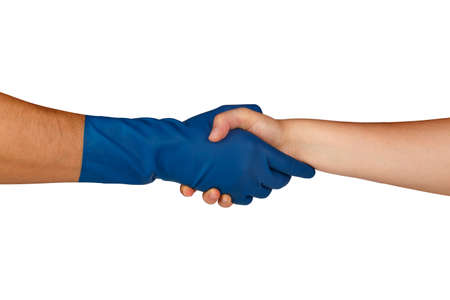 dish washing gloves: Close up view of hands with rubber glove handshaking, isolated on white background. Stock Photo