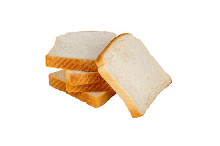 side shot: Top view of slices of toast bread, isolated on white background.