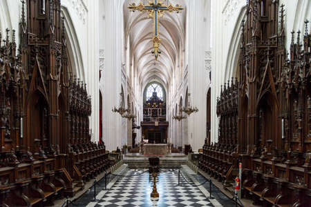 ANTWERP, BELGIUM - JULY 5, 2016 : Interior view of Cathedral of Our Lady in Antwerp. Cathedral is one of the largest building and contains some of art works and paintings of Baroque painter Peter Paul Rubens. Editorial
