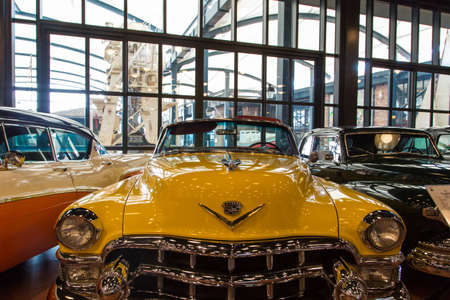 ISTANBUL, TURKEY - APRIL 16, 2017 : View of colored vintage nostalgic autos exhibited. Rahmi Koc is a famous car museum.