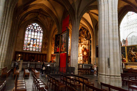 ANTWERP, BELGIUM - JULY 5, 2016 : Interior view of Cathedral of Our Lady in Antwerp. Cathedral is one of the largest building and contains some of art works and paintings of Baroque painter Peter Paul Rubens.