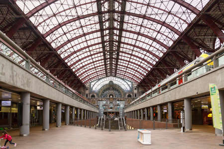 ANTWERP, BELGIUM - JULY 5, 2016 : Interior view of Antwerp Central Station entrance hall. Antwerp Central railway station is main and the most famous station in Antwerp. Editorial