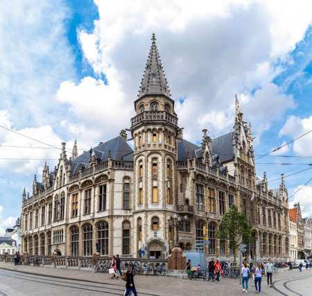 GENT, BELGIUM - JULY 6, 2016 : Post office palace building in Korenmarkt. This square is most popular place in Gent, Belgium Editorial