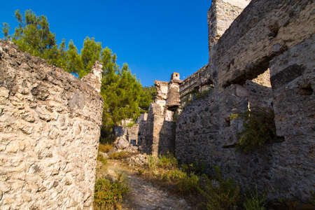 Historical stone village or ghost town in Fethiye, Mugla, Turkey.