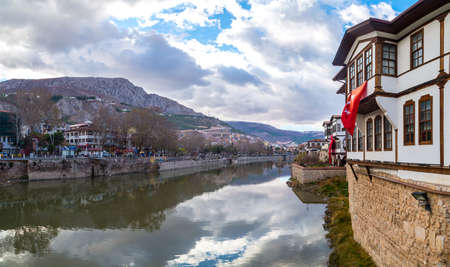AMASYA, TURKEY - DECEMBER 03, 2016 : Close up view of old Ottoman houses by river. Amasya has been a popular hometown for sultans sons for all Ottoman Empire period.