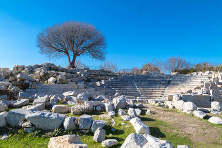 Theatre ruins on Teos Ancient City in Izmir, Turkey.