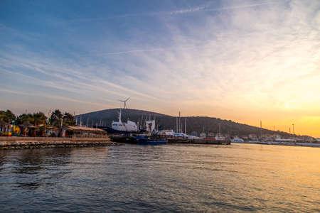 CESME, TURKEY - MARCH 05, 2017 : Yacht club in Cesme Marina in Izmir. Cesme is a popular destination in Izmir, near yacht marina.