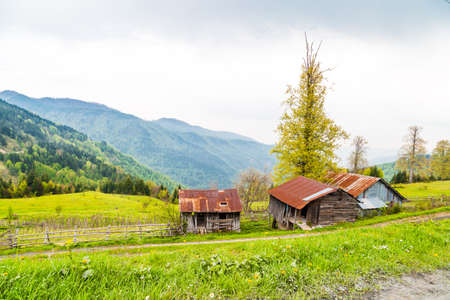 General view of Odayeri Plateau with mountain houses in meadow area on cloudy sky background. Stock Photo