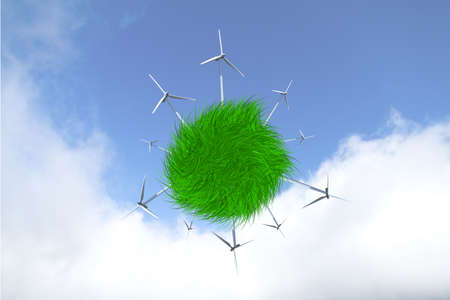 Close up illustrative front view of windmills producing electric power by saving nature, on cloudy sky background.