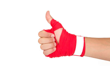 educacion sexual: Close up detailed view of mixed martial arts athlete man hand with red boxing wraps, ready for fighting, exercising and strong, isolated on white background.