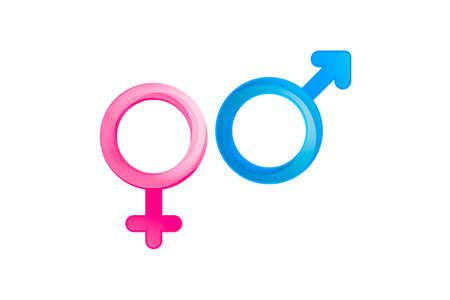 白い背景の上でピンクと青、男と女のジェンダー記号の例示のフロント ビューが分離されました。 写真素材