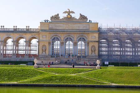 VIENNA, AUSTRIA - SEPTEMBER 11, 2016 : View of Classical Gloriette Arch in Schönbrunn Palace Garden in Vienna, on bright sky background. It was built in 1775.