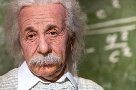 VIENNA, AUSTRIA - SEPTEMBER 11, 2016 : Detailed waxwork face view of famous German physicist Albert Einstein, wax sculpture exhibited in Madame Tussauds museum in Vienna.