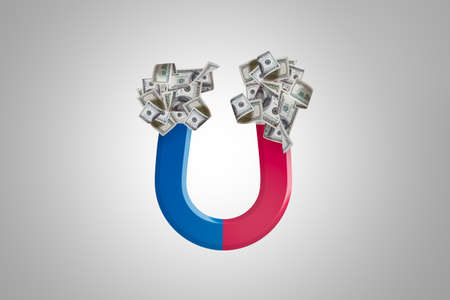 Illustrative red and blue horseshoe magnet pulling dollars in finance concept, isolated on white background.