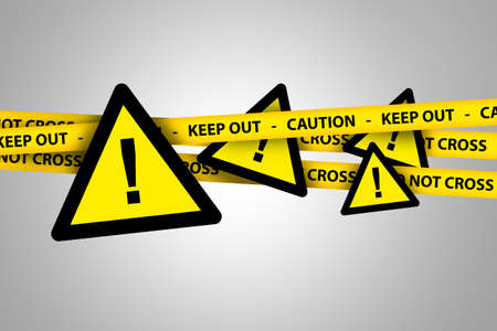 Illustrative triangle yellow warning signboards with yellow caution and keep out police tapes on grey background.