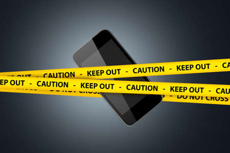 Illustrative black smart mobile phone surrounded with yellow caution and keep out warning tapes.
