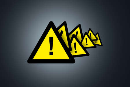 Illustrative triangle yellow warning signboard with exclamation mark on dark background.
